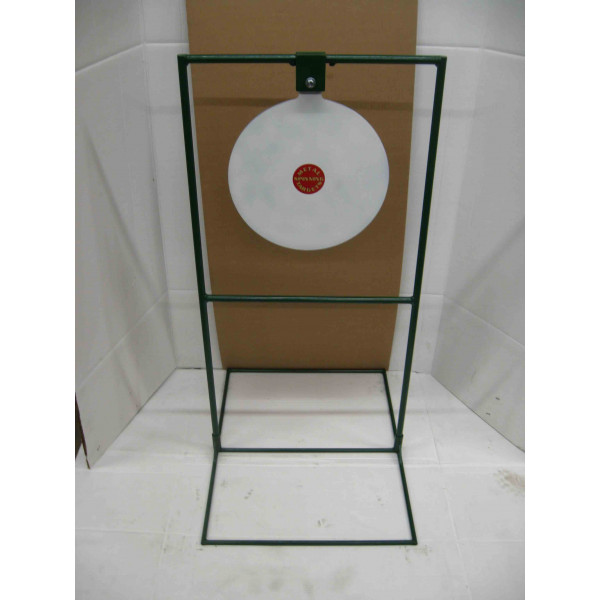"15"" Circle Gong Tall Boy Target - Rifle Target Stands Displayed"