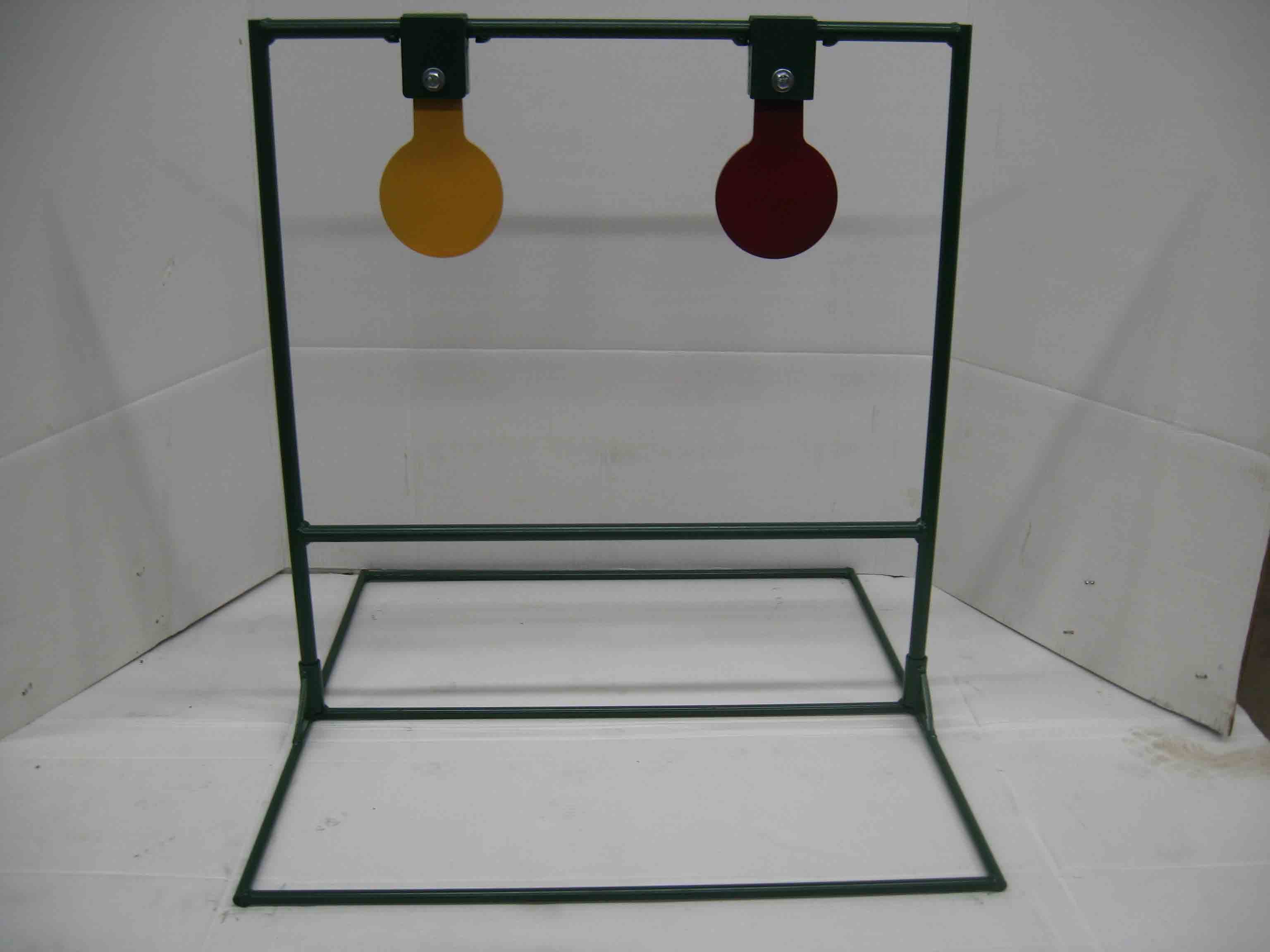 Double spinning metal target stands with optional base