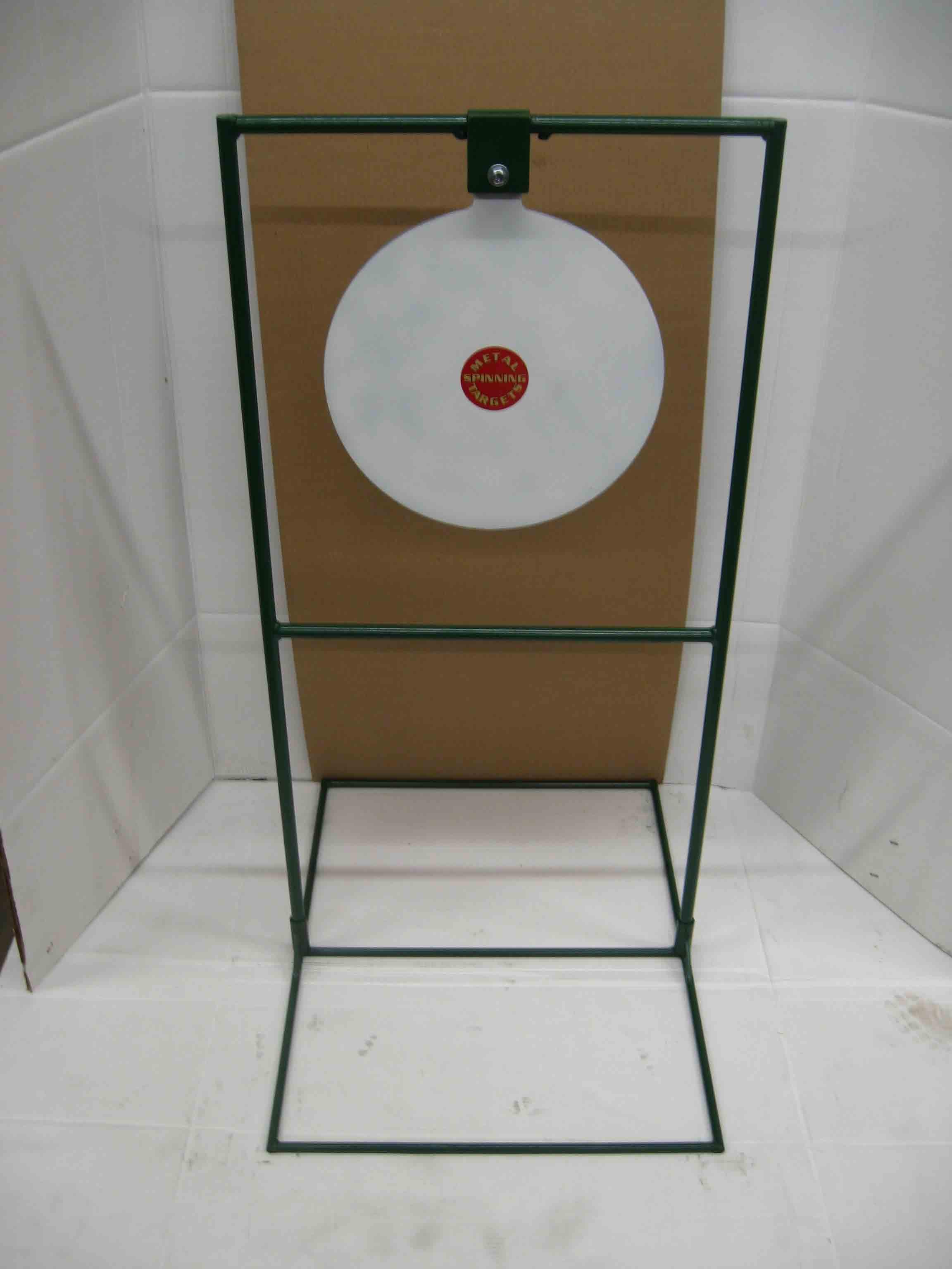"15"" Circle Gong Tall Boy Target - Rifle Target Stands Displayed"