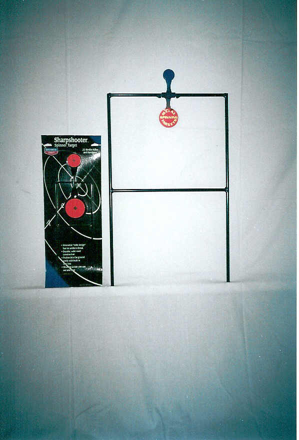 Single spinning shooting metal target stands and paper targets for rimfire shooting